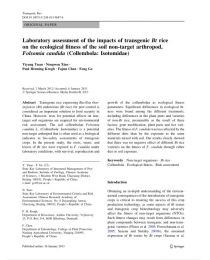 Laboratory assessment of the impacts of transgenic Bt rice on the ecological fitness of the soil non-target arthropod, Folsomia candida (Collembola: Isotomidae)