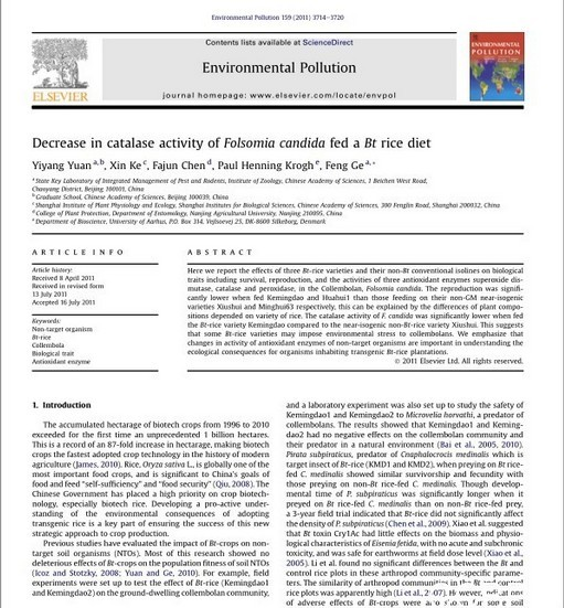 Decrease in catalase activity of Folsomia candida fed a Bt rice diet